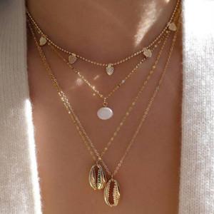 Collana del pendente della conchiglia della cowrie del colore dell'oro della moda per le donne dell'imitazione di perle di perle del choker collana del colletto del collare del cuore