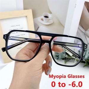 Anti Blue Light Myopia Brille Mode 2021 Übergroße quadratische männliche Frames Rezept Brillen Minus -2-3-6 Computergläser