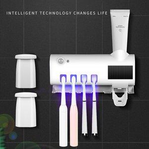 Ultraviolet Toothpaste Dispenser Solar USB Rechargeable Plastic Household Toothbrush Storage Holder Rack for Bathroom Y0220