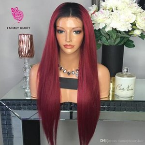 1b 99j Ombre Human Hair Full Lace Wig Peruvian Straight Burgundy Two Tone Glueless 13x6 transparent Laces Front Wigs Red 360 frontal bleached knots Virgin