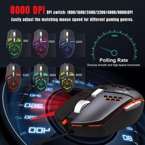 마우스 다채로운 J400 팬 매크로 프로그래밍 유선 구멍 게임 경량 디자인 마우스 8000DPI 조정 가능한 안티 땀