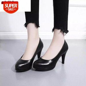 Block Heels Platform Shoes Women Pumps 2020 Medium Heel Spring Wedding Ladies Office Party Dance Shoe Zapatos De Mujer Black #ff1I