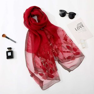 New fashion silk wool scarf women's beach towel embroidered thermal sunscreen shawl in autumn of 2019