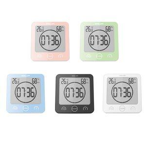 LCD Digital Wall Clock for Bathroom Temperature Humidity Countdown Timer Watches Wash Shower Hanging Alarm Clocks Waterproof