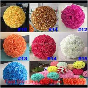 16 Color Artificial Flowers Rose Balls Kissing Ball Decorate Flower Wedding Party Garden Market Party Decoration Christmas Gift F1Zu6 Nssyj