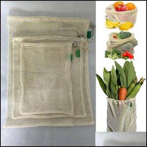 Food Sets Housekee Organization & Garden3Pcs Reusable Produce For Fruit Vegetable Dstring Cotton Mesh Potato Onion Storage Bags Home Kitchen