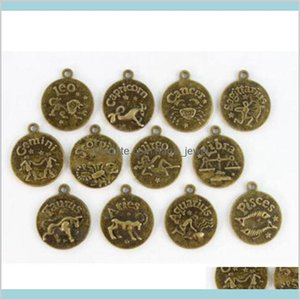 120Pcs Antiqued Bronze Setting Cabochon Cameo Base Tray Bezel Blank Zodiac Constellations Pendants Fit 20Mm Cabochons Bracelets Jewelr T7Lvf