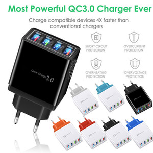 New 4 Port Fast Quick Charge QC 3.0 USB Hub Wall Charger 3.5A Power Adapter EU   US Plug Travel Phone Battery chargers for iphone 11 12