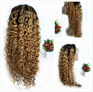 Blonde Colored Human Hair Wig T Part Brazilian Remy Deep Wave Glueless Lace Front Wigs For Black Women 1B 27 Ombre Curly Frontal Natural Wig
