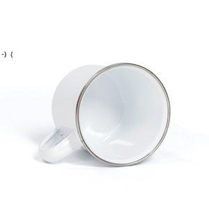 12oz Sublimation Enamel mug heat transfer enamelled tumblers with handle 350ml Blank white sublimated Coffee unbreakable SEAWAY RRF10195