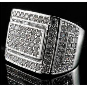 FactoryGVWPSilver Hip 18K Iced Out White Hop Gold Championship Bling MICROPAVE CZ Mens Ring