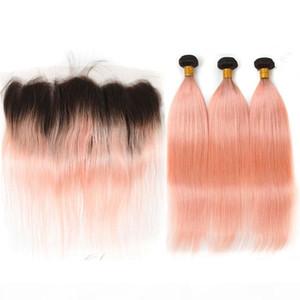 Ombre 로즈 핑크 골드 페루 인간의 머리카락 3Blundles 정면 폐쇄 4pcs 로트 똑바로 # 1B 핑크 옹브 레스 웨이브 웨이브 웨이브 웨이브와 레이스 정면 13x4