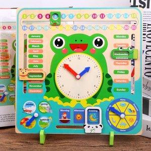 Cartoon Animal Educational Wooden Calendar And Clock Frog Clock Toy With Original Box