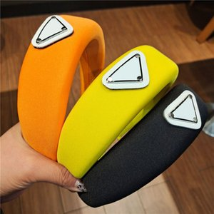 Diseñador Sponge Triangle Headbands Thick Hairbands Letra Imprimir Hoops Pelo