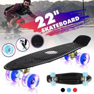 22 Inches Four-wheel Mini Longboard Pastel Color Skate Board Flashing Light skateboard with LED Flashing Wheels Retro Skateboard