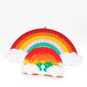 20.5*45cm Big Size Fidget Toys Rainbow Push Bubble Decompression RainbowColor Stress Relief Antistress Squishy Simple Dimple toy