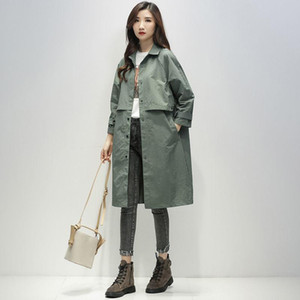 Windbreaker women's middle long 2021 new loose casual temperament goddess coat small popular spring and autumn coat