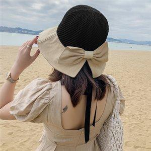 Spring New Style Fisherman Hat Womens Summer Beach Hat Fashion Sun Hat All-Match Bow Sun Protection Sun