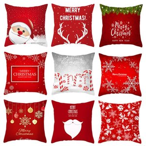 Pillow Case Red Christmas Snowflake Elk Pillowcase Santa Claus Cushion Cases Cover Year Xmas 45x45Cm Covers