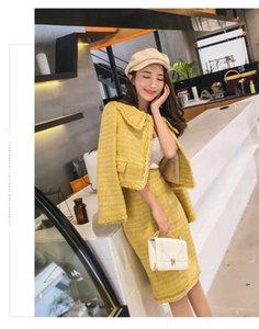 2020 새로운 디자인 여성의 귀여운 턴 다운 칼라 노란색 색상 트위드 모직 쇼트 코트와 무릎 길이 연필 치마 Twinset OL 드레스 슈트