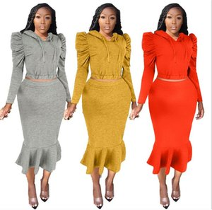 OL Style Lantern Sleeve Designer Dress Suits Solid Color Hooded Mermaid Skirts Suit Womens Clothing 2 Piece Set