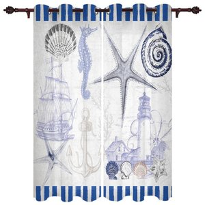 Curtain & Drapes Baby Bedroom Curtains Marine Life Lighthouse Blue Living Room Hanging Balcony Kitchen Study Modern Window Treatments