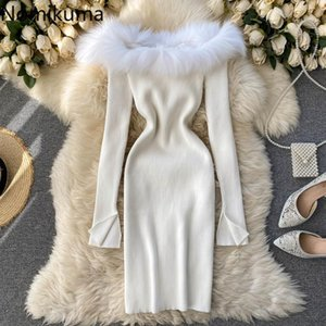 Nomikuma Frauen Pullover Kleid Pelz Patchwork Sexy Slash Hals Trägerlosen Strickkleider Langarm Slim Bodycorn Vestidos 6D810