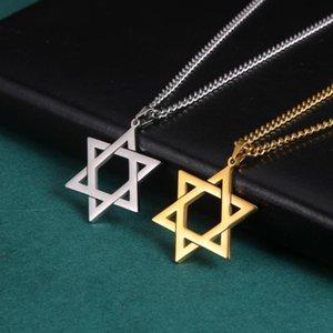 Männer Frauen Trendy Mogan David Stern Anhänger Halskette Israel Juden Edelstahl Kette Stern David Goldener Charme Choker Schmuck