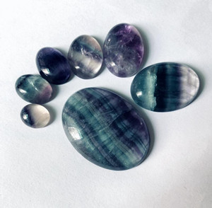 Großhandel 4 teile / lot regenbogen fluorit perlen cabochon 10x12mm 12x16mm 13x18mm 15x20mm, 30x40mm oval edelstein stein cabochon ring gesicht
