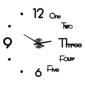 3D Acrylique DIY Horloge murale moderne Design Grandes horloges de quartz décoratifs Mouvement silencieux Salon Horloges décoratives Noir Golden 674 K2