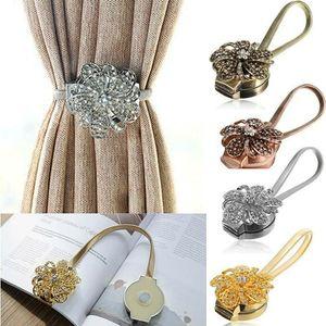 2 pc Magnético Cristal Flor Cortina Gravata Corda Backs Holdback Buckle Clipes Acessório Hastes Acessoires Holder Home Decoração