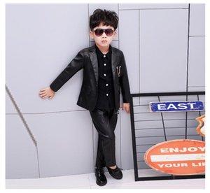 Suits 2021 High Quality 2PCS Kids Pu Leather Wedding Blazer Suit Brand Flower Boys Formal Tuxedos School Winter Clothing Set