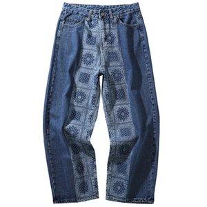 High New Kiryaquy Hombres Lujoso Paisley Craseros West Bloods Jeans Pantalones de algodón Denim Pantalones Comfort Casual Jeans ST-XL # D16