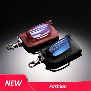 Fashion Portable Mini Blue Light Blocking Reading Glasses Compact Folding Presbyopia Eyeglasses with Keychain Case for Women Men