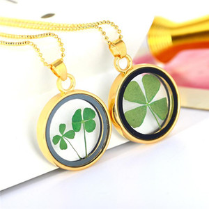 Natural Four-Leaf Clover Plant Glass Specimen Necklace Valentine's Day Personality Charm Gift Woman Fashion Creative Jewelry