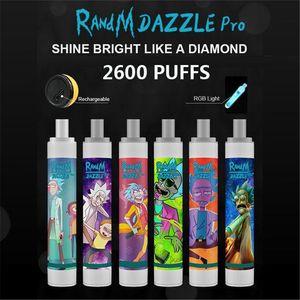 Orijinal Randm Dazzle Pro Tek Kullanımlık Pod Devic 2600Puff Vape Kalem Sistemi Renkli LED Işık 1100 mAh Pil 6 ML Seçmeli Taşınabilir Vape Sopa