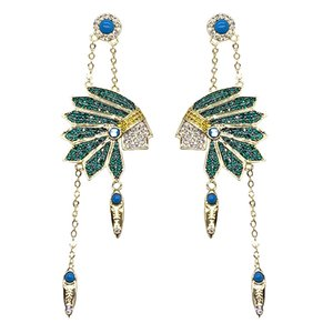 European and American niche design mysterious Indian head charm blue turquoise micro-inlaid colored diamond earrings S925 silver needle f