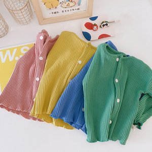 XZXY Korean Quality INS Baby Little girls Boys Tees Knitted Long Sleeve Tops T-shirt Summer Fashion Pure Cotton Girls Tops Coat