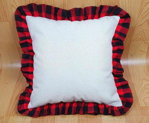 18 inch Blank Sublimation Pillow Case DIY Thermal Linen Cushion Throw Pillow Covers Tartan Plaid Lace Pillowcases Home Decoration