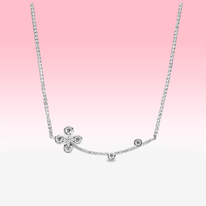 New Crystal Smiling clover Necklace Women Girls Lucky Jewelry for Pandora 925 Sterling Silver flower Pendant Chain Necklaces with BOX