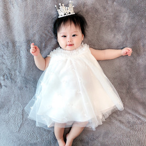 baby girl princess Summer Kids Girls White Lace Dress tops Baby Girl party birthday dress Children clothing