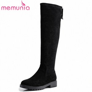 MEMUNIA 2020 New Arrival Women Knee High Boots Flock Round Toe Zipper Autumn Winter Knight Boots Fashion Low Heels Shoes Woman Boots F Q1Oc#