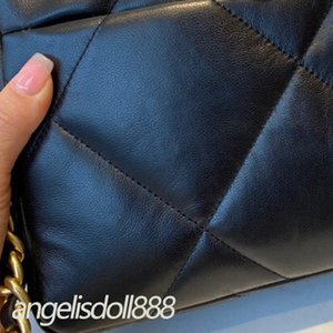 Women black lambskin quilted large flap bag 19Bag Shoulder Crossbody genuine real leather top 7A high end quality chain bags handbags purses famousbags