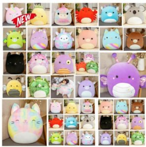 25-40cm Squishmallow dolls Twenty styles Gummy colorful doll unicorn cat pig bee dinosaur pillow plush toy Christmas Gift