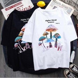 Harajuku Красочные грибные печать мужчины футболка повседневная уличная одежда летняя пуловер хип-хоп женская веселая винтажная мода вершина