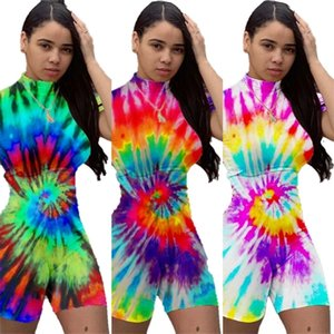 Summer Women Tie Dyed Jumpsuit High Neck Short Sleeves Shorts Rompers Sexy Jumpsuit Party Night Club Bodysuits Girls Clothes G32H367