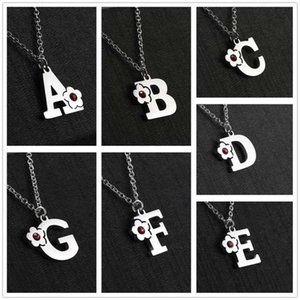Skyrim Crystal Capital Letter Stainless Steel Necklace Women A-z Alphabet Pendant Necklaces a b c d e f g h i j k l m n o p q r