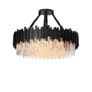 Preto dourado cristal de alumínio redondo desinger candelabro pingente de iluminação lustre suspensão lâmpadas de suspensão para sala de estar hotel lobby foyer