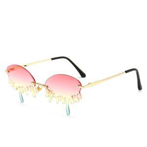 Солнцезащитные очки Безрамные Teardrop Женщины Металлические Океанские Линзы Солнцезащитные Очки Мода Градиентные Очки UV400 Дорожные де-Соль Мухеер
