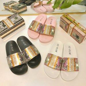 Женщины тапочки моды дизайнеры плоские скольжения шлепанцы 2021 летний доллар алмазный узор плоская обувь